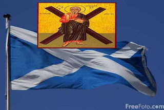 Ο Άγιος Απόστολος Ανδρέας και οι σημαίες Σκωτίας και Ηνωμένου Βασιλείου